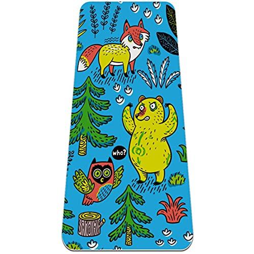 Bear Fox Owl Wolf Tree - Esterilla antideslizante para yoga, respetuosa con el medio ambiente, TPE gruesa, ideal para pilates, yoga y muchos otros entrenamientos en el hogar, 183 x 61 x 0,6 cm