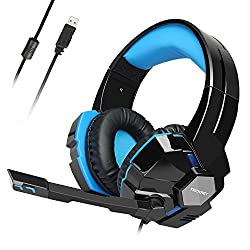 usb gaming headset tecknet wired 7.1