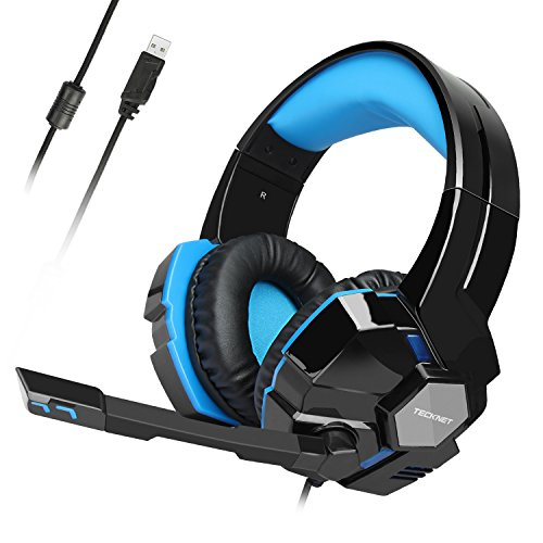USB Gaming Headset, TeckNet Wired 7.1 Channel Surround Sound USB PC Computer Gaming Headset Over Ear Headphones with Microphone, Volume Control and LED Light