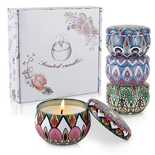 4 St¨¹ck Duftkerze Geschenke für Frauen, Lemon, Lavendel, Mediterranean fig,Spring Flavor Sojawachs Duftkerzen Set mit Angenehmer Duft Schön Kerzen für Aromatherapie Weihnachten und Hochzeiten