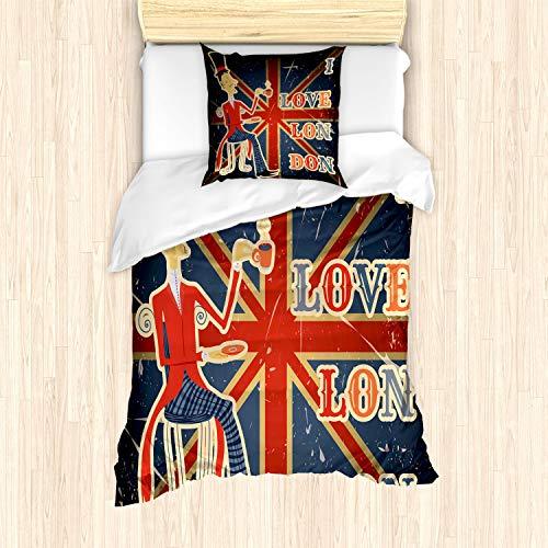 ABAKUHAUS británico Funda Nórdica, Londres Inglés Bandera del Hombre, Decorativo, 2 Piezas con 1 Funda de Almohada, 135 x 200 cm, Multicolor