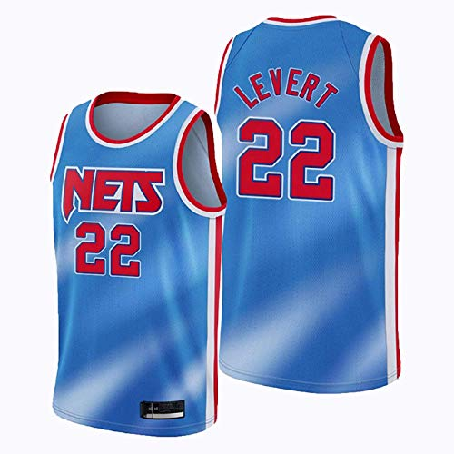 ZMIN Camiseta de la NBA de Baloncesto para Hombre, Brooklyn Nets # 22 Levert Cómodo Chaleco Deportivo sin Mangas Bordado de Malla Transpirable Unisex,Azul,M 170~175cm