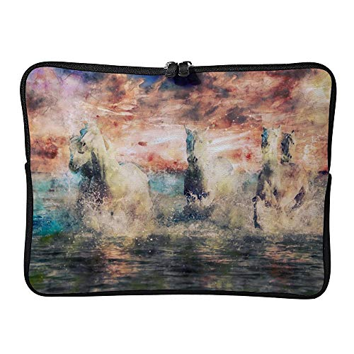 Laptop Sleeve Bag Notebook Computer PC Neoprene Protection Zipper Case Cover Pouch Carrier Holder Beach Sunset Horses Sky Clouds Mammal Animal color3 17inch