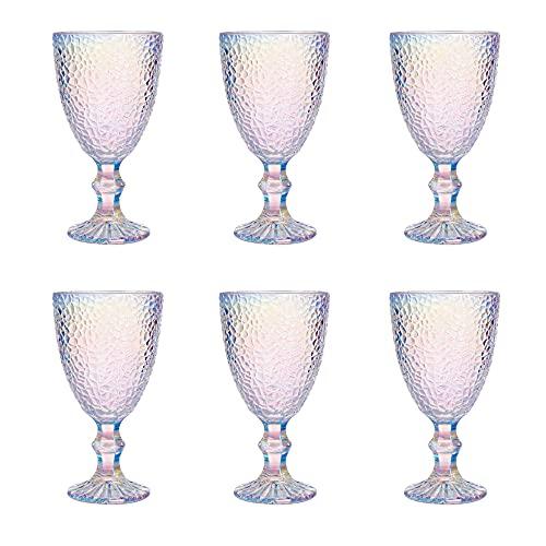 UNISHOP Set de 6 Copas Iridiscentes para Agua y Vino, Copas de Cristal de 325ml de Capacidad, Aptas para Lavavajillas