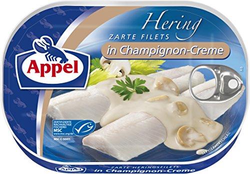 Appel Heringsfilets in Champignon-Creme, 10er Pack Konserven, Fisch in Champignoncreme