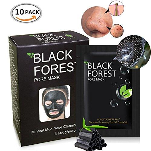 Black Forest Spa Black Mask, Black Head Remover Mask , Mineral Black Mud Nose Mask, Blackhead Anti Acne Pore Remover Peel Off Blackhead Mask Deep Cleansing (10pcs)