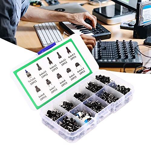 Juego de interruptores de botón pulsador, controlador electrónico de productos Microinterruptor en caja Interruptor de botón pulsador Kit surtido de botones 10 tipos de interruptores de