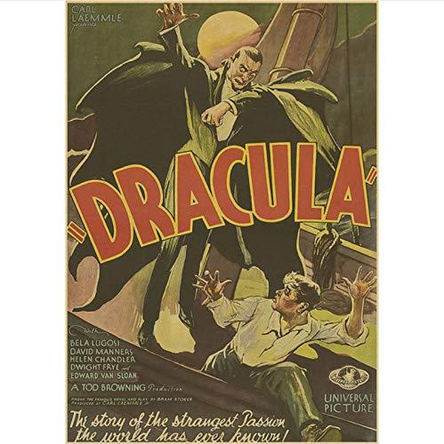 Li han shop Dracula Horror Movie Classic Vintage Poster Home Decoration Retro Wall Poster Picture Print Home Wallpaper B68 40X50Cm Sin Marco