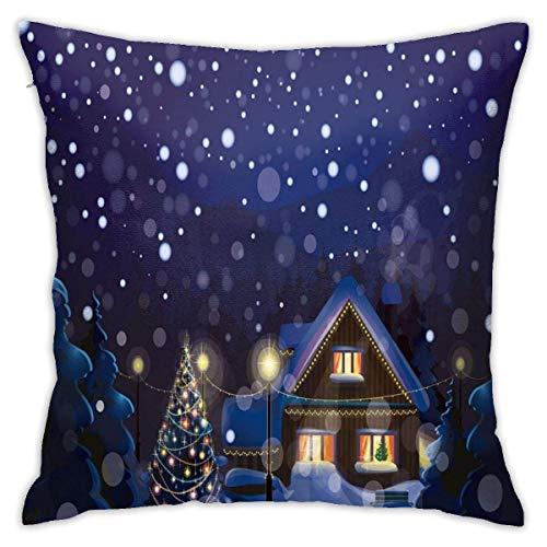 Hangdachang Moderna Funda de cojín para cojín, Paisaje de Campo de Noche de Invierno con casita Entre pinos y Nieve, Funda de Almohada Decorativa Cuadrada Decorativa, 18'x 18'