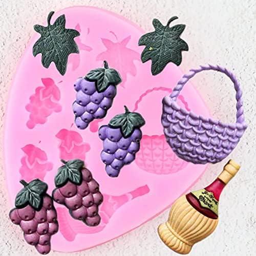 Druivenbladeren Siliconen Mallen Wijnfles Mand Cupcake Topper Fondant Cake Decorating Gereedschap Snoep Polymeer Klei Chocolade Mallen