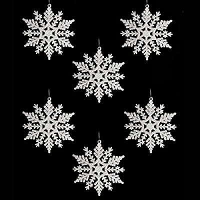 Pack Of 6 White Glitter Snowflake hanging Tree Decorations