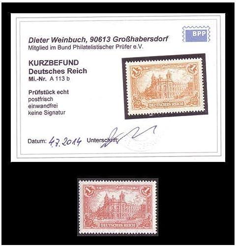 Goldhahn Deutsches Reich Nr. A113b postfrisch mit Fotobefund Weißbuch BPP Briefmarken für Sammler