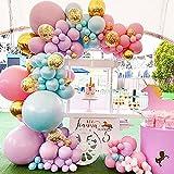 Kit Guirnalda Globos, MMTX Arcos de Globos Decoración Pastel Macaron Látex Globos con globo de confeti dorado para Cumpleaños Fiesta Bodas Baby Shower Despedida