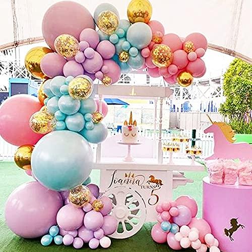 MMTX Ghirlanda Palloncino Kit Pastello, Kit Arco Palloncini Party Decorazioni in Lattice Rosa Blu Viola con Confetti Palloncini per Battesimo Bimbo Compleanno Matrimonio Party Feste Deco