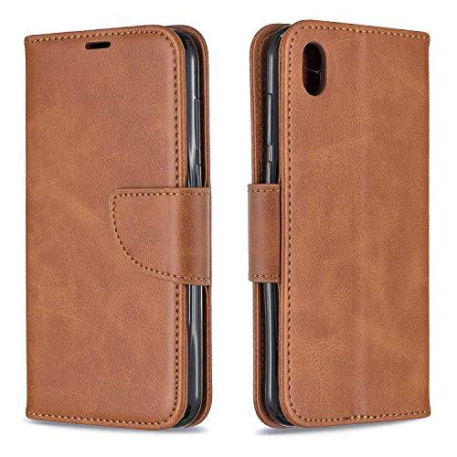 GIMTON Hülle für Huawei Y5 2019 / Huawei Honor 8S, Kratzfestes PU Leder mit Magnetisch Verschluss und Kartenfach für Huawei Y5 2019 / Huawei Honor 8S, Hochwertige Brieftasche Tasche, Braun