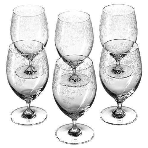 Leonardo Chateau Wasser-Gläser, 6er Set, spülmaschinenfeste Trink-Gläser, Saft-Gläser mit Stiel, Glas-Becher mit floraler Gravur, 380 ml, 017451