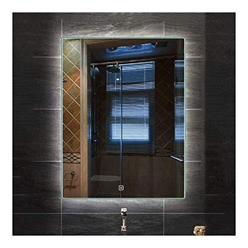 Pursue Espejo de baño Rectangular retroiluminación LED de Pared sin Marco Interruptor con Smart Touch (Size : 50 * 70CM|White Light)