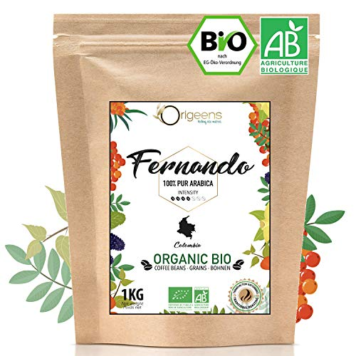 ☘️ BIO Kaffeebohnen 1kg | Biologische Arabica Kaffee Ganze Bohnen | Single Origin Kolumbien Fernando | Säurearm | Traditionelle Röstung