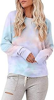 Womens Tie Dye Sweatshirt Casual Autumn Tie Dye Long Sleeve T-Shirts Loose Fashion Blouse Shirt Tee Tops Pullover Crewneck...
