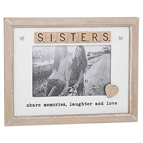 """Shudehill Marco de fotos de madera con texto en inglés """"Sisters Share Memories, Laughter and Love Scrabble"""""""
