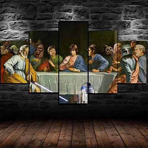 AWER 5 Piezas Modernos Mural Fotos Guerra de las Galaxias para Salon,Dormitorio,Baño,Comedor Dibujo con Marco Fotografía para Oficina Aniversario