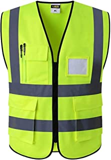 OLLVU Reflective Stripes Traffic Construction Overalls Reflective Vest Safety Reflective Vest Reflective Logo Printing Outdoor Riding Reflective Jacket (Color : Green, Size : 2XL)