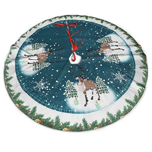 MSGUIDE Reindeer Christmas Tree Skirt Large Tree Mat for Xmas New Year Festive Holiday Party Decorations 48 Inch