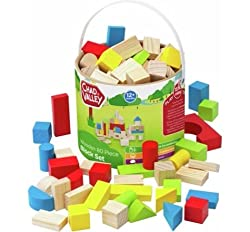 Classic selection of wooden building blocks A mix of colours and styles Presented in a great travel bucket with carry handle and lid Perfect for creative play!