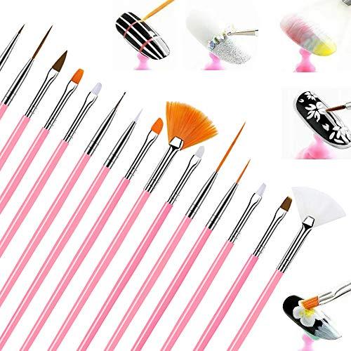 Nagel Pinsel für Gelnägel,15 Stück Acryl Nail Art Pinselset, Nageldesign Pinselset Nagellack Pinsel Nageldesign Zubehör Pinsel Nagel Bürste und Dotting Werkzeug Set Rosa