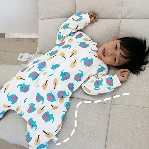 para Invierno Verano Primavera Otoño Bolsa Dormida,Saco de dormir para bebé, edredón antideslizante de algodón-Pequeño elefante azul_M,Saco de dormir para bebé con piernas forrado cálido de in