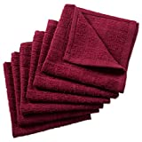 DII Cotton Terry Windowpane Dish Cloths, 12 x 12' Set of 6, Machine Washable and Ultra Absorbent Kitchen Bar Towels-Solid Wine