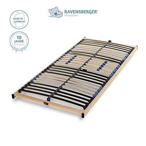 Ravensberger Matratzen® PURAMED ® Lattenrost | 7-Zonen-Birke-Lattenrahmen | 28 Leisten| Starr| KLAPPRAHMEN - Made IN Germany | 100 x 200 cm