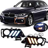 for BMW F30 DRL Daytime Running Lighting with Sequential Turn Signal, Front Bumper Fog Light Replacement Trim, Driving Light Compatible with 3 Series 2013-2019