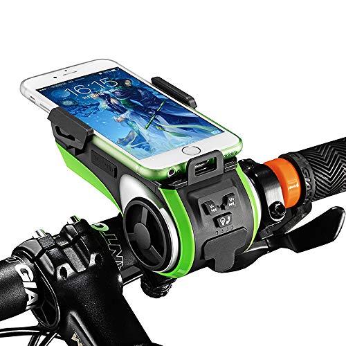 JSX Bicycle Headlight Bicycle LED Light Waterproof Bell Multifunctional Mountain Bike lamp lamp Light Accessories Green