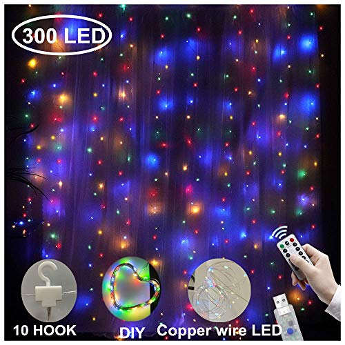 Curtain String Lights 300 LEDs Window Curtain Fairy Lights Copper Wire Twinkle String Lights USB Remote Control 8 Modes Hanging Lights for Bedroom Decor Indoor Outdoor, Wedding (300 LED, Multi)
