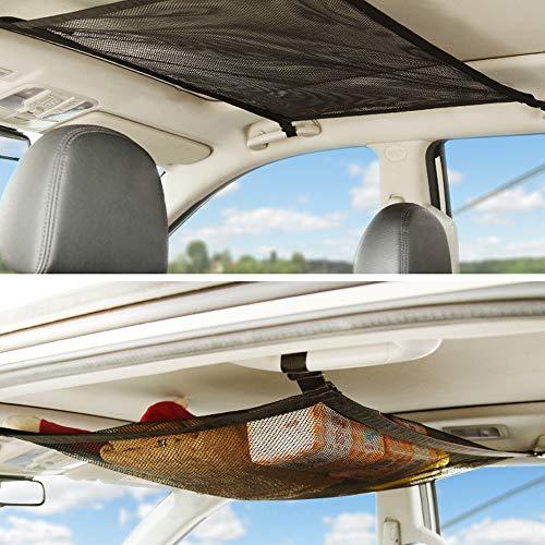 CEISPOB SUV Car Ceiling Storage Net Pocket, Car Roof Bag, Interior Cargo Net Breathable Mesh Bag, Adjustable Sundries Storage Pouch with Zipper Buckle