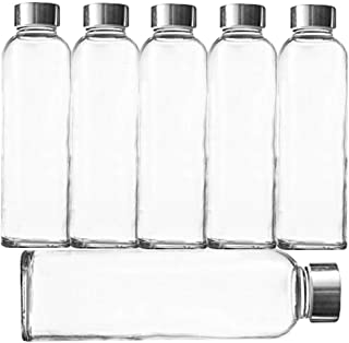 Glass Drinking Bottles For Beverage and Juice 18-oz Pack of 6