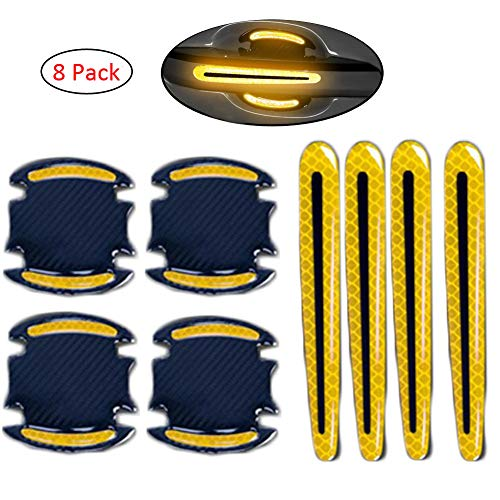 WindCar Car Door Handle Reflective Stickers Universal Auto Door Handle Scratch Cover Guard Protective Film Pad with Safety Reflective Strips 8 Pack (Yellow)