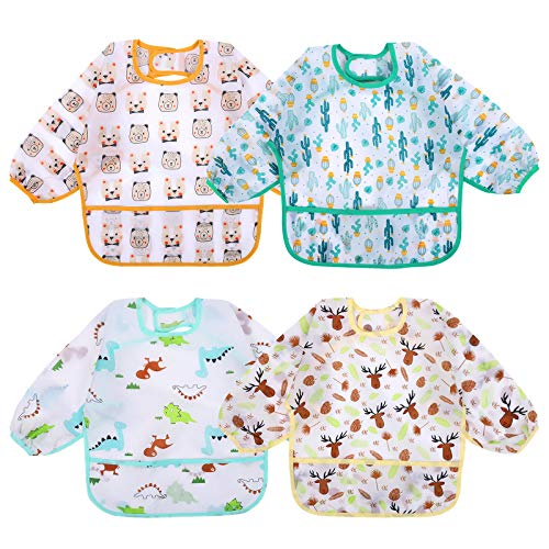 Accmor 4 Pcs Long Sleeve Bibs, Waterproof Baby Bibs, Toddler Sleeved Bib, Baby Smock for Eating Feeding, 6-24 Months