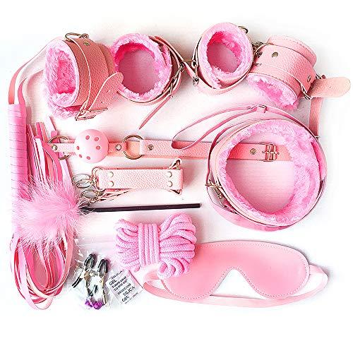 Set bindingen, fluwelen tasje en veertjes jeuk (roze) (10 stuks) A200