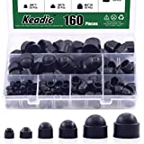 Keadic 161Pcs Bolt Covers Screw Caps Plastic Nut Assortment Kit with Storage Box, M4 M5 M6 M8 M10 M12 Durable Nylon Insert Locknut for Matching Screws or Bolts, Black