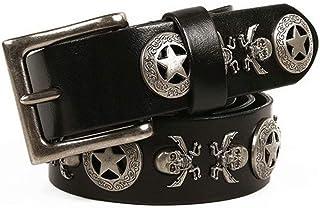 Belt unisex rivet leather belt retro skull decoration pin buckle belt men Gift (115cm)