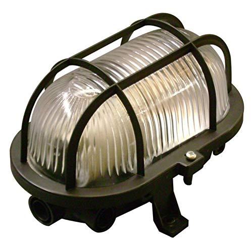 LED Decken- Wandleuchte E27 schwarz Schildkröte Ovalleuchte Bauleuchte Schiffsleuchte