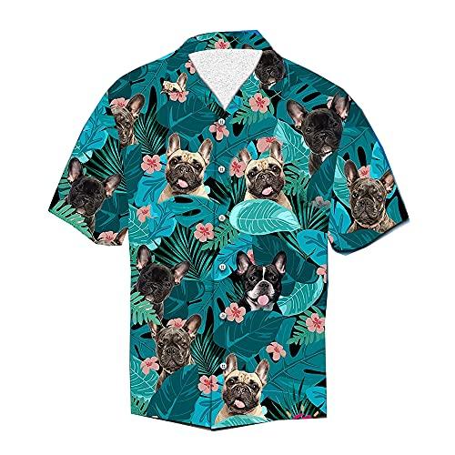 Designfullprint French Bulldog Frenchie Tropical Shirt Hawaiian Shirt for Men for Men CHM Dog Lover Gift (3XL) Black