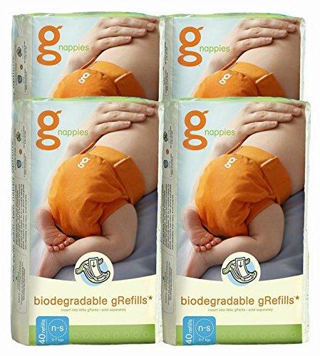 gDiapers ANGEBOT: 4 Pakete à 40 biologisch abbaubare Windeln - Newborn/Small - zu 100% kompostierbar im Garten oder in der Biotonne - GRATIS VERSAND