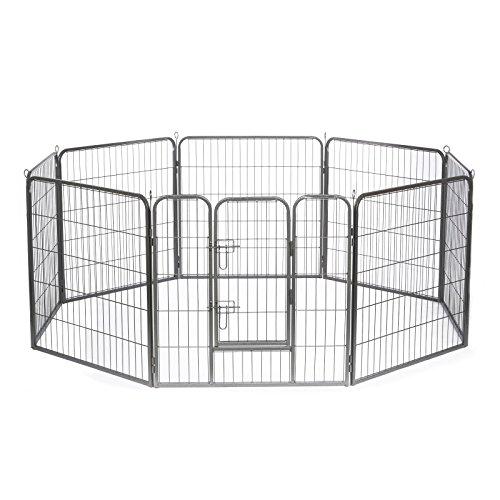 dibea FG00541, Welpenauslauf Laufstall Freilaufgehege für Hunde und Kleintiere, 8 - Elemente, höhe 80 cm