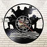 With LED-Soldat mit amerikanischer Flagge Silhouette führte Licht Vinyl Rekord Wanduhr patriotischen Design militärische Wandkunst Veteran Geschenk