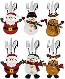 ziidoo 6 Pcs Bolsita para Cubiertos de Navidad, Mu?Eco de Nieve de Alces de Santa Claus, Decoraci¨®n de Mesa