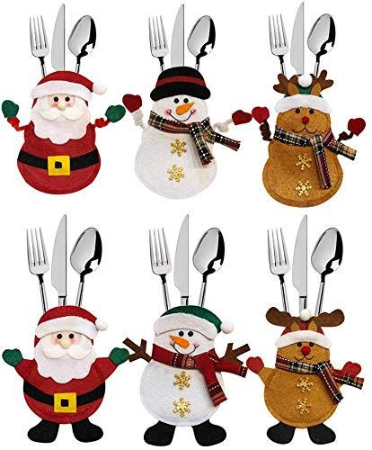 6 Pezzi Natale portaposate Costume, Babbo Natale Pupazzo di Neve alci, Decorazione per Tavolo