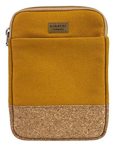 Kuratist eBook Reader Tasche - Handgemacht aus 100% Baumwoll-Canvas und Kantenschutz aus Kork, (100% vegan) (Curry, 8 Zoll)
